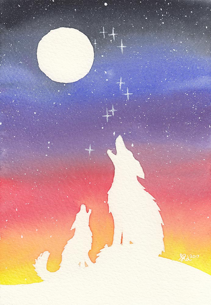 Watercolour - wolves howling